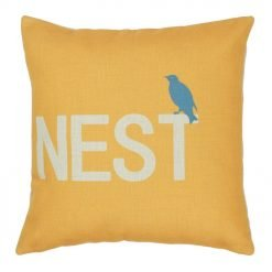 Yellow and white with grey sparrow Cotton linen cushion (45cmx45cm)
