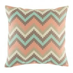 cotton linen 45cmx45cm cushion cover with chevron pink, blue, white and dark grey colour.