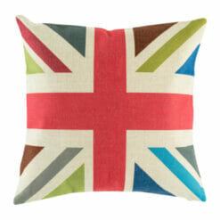 45cmx45cm Red, blue, green, white Union Jack Cotton linen cushion cover