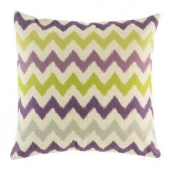 purple, green and grey Zig Zag cotton linen cushion in size 45cmx45cm