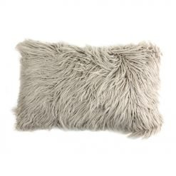 Photo of ecru coloured 30cm x 5cm rectangular faux fur cushion cover