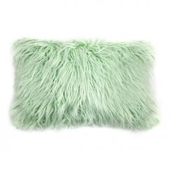 Image of green rectangular fur cushion cover