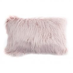 Image of pink rectangular faux fur cushion in 30cm x 50cm size