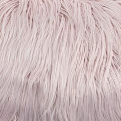 Close up image of 30cm x 50cm faux fur rectangular cushion in pink colour